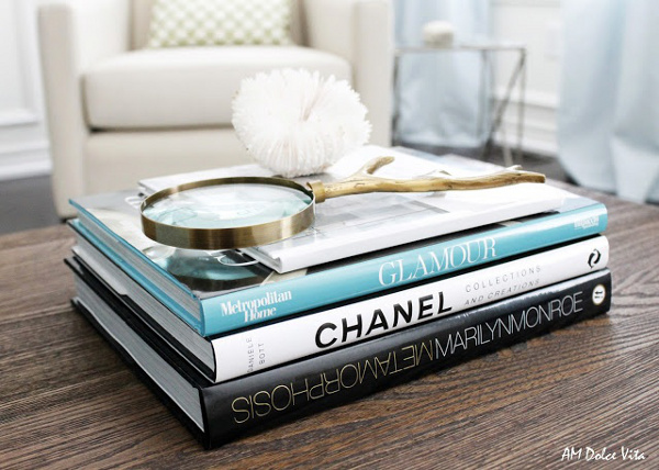 Carefully stacked books style a coffee table
